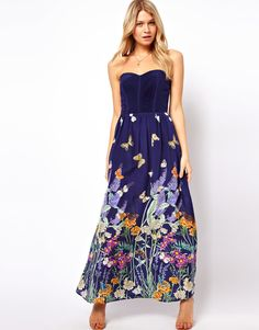 Oasis | Oasis Butterfly Silk Maxi Dress at ASOS