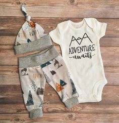 Leggings and hat.  Adventure Awaits Newborn Boy Coming Home Outfit, Newborn Outfit, Baby Boy Outfit, Boy Outfit, Going Home Outfit by JosieandJames on Etsy https://www.etsy.com/listing/522940397/adventure-awaits-newborn-boy-coming-home