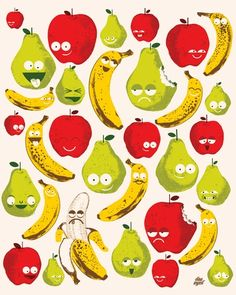 Bad Fruits - Fruit Cocktail Canvas Wall Art