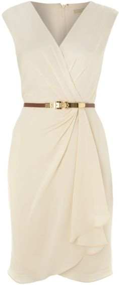 Bridesmaids - Chic Michael By Michael Kors Beige Sleeveless Vneck Shift Dress $205 www.SweetStart.us Weddings@SweetStart.us