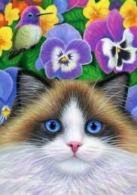 Garden Painting, Garden Art, Painting Art, Paintings, Cats And Kittens, Ragdoll Cats, Siamese Cat, Cat Drawing, Beautiful Cats