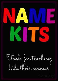Name Kits: Tools for Teaching Young Children Their Names Preschool Names, Preschool Lessons, Preschool Kindergarten, Preschool Learning, Literacy Activities, Early Learning, Preschool Winter, Preschool Writing, Preschool Curriculum
