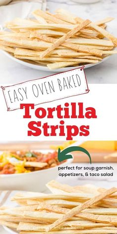 Add a little crunch to your favorite soup or salad with these easy to make crispy tortilla strips. Made with only 2 ingredients, they can be baked right in the oven! Quick & yummy! New Recipes, Crockpot Recipes, Easy Recipes, Dinner Recipes, Easy Meals, Healthy Recipes, Spicy Spice, Salad Toppings, Great Appetizers