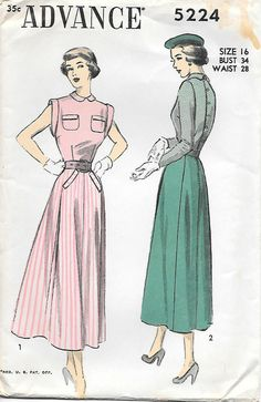 Advance 5224 - 1940s Pocket Detail Top and Skirt Sewing Pattern, offered on Etsy by GrandmaMadeWithLove
