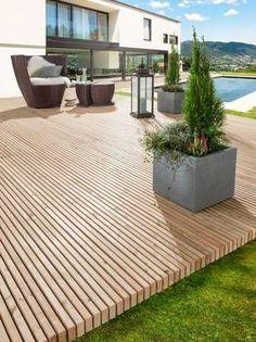 Long-lasting wooden terrace in one piece - Lawn , Garden, backyard , porch, outdoor - Balkon Pergola Designs, Deck Design, Pool Designs, Wooden Terrace, Wooden Decks, Backyard Patio, Backyard Landscaping, Terrasse Design, Terrace Garden