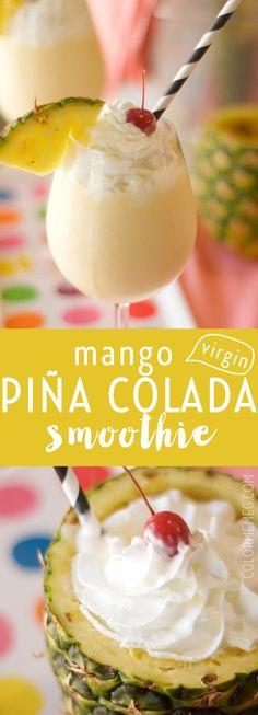 This Virgin Piña Colada Smoothie Is So Yummy And With A Mango Kick, It's Even Better. Non-Alcoholic And Refreshing, Perfect For Summer! Virgin Pina Colada Smoothie Recipe, Pina Colada Recipe Non Alcoholic, Smoothie Menu, Smoothie Recipes, Drink Recipes, Cake Recipes, Mango Pineapple Smoothie, Easy Smoothies, Protein Smoothies