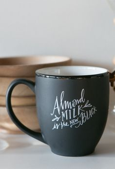 almond milk is the new black coffee mug by @lindsay_letters