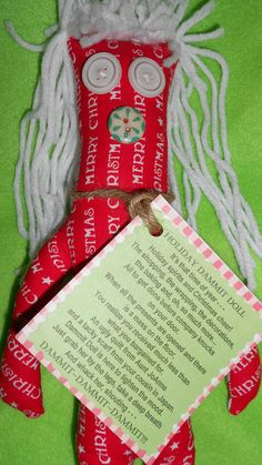 HOLIDAY DAMMIT DOLL by tobeesgifts on Etsy, $14.95