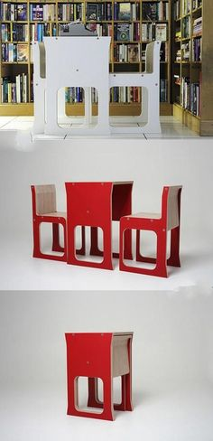 Compact combination table and chair
