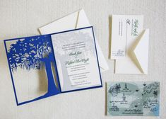 Laser cut tree invitation by Dodeline with Spanish Moss Charleston tree folding over wedding invite. Unique laser cut oak tree can be customized to suit!