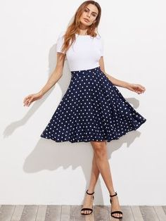 To find out about the Hidden Pocket Detail Polka Dot Circle Skirt at SHEIN, part of our latest Skirts ready to shop online today! Mesh Skirt, Pleated Skirt, High Waisted Skirt, Skater Skirt, Style Retro, Swing Skirt, Skirts With Pockets, Pocket Detail, Fall Dresses