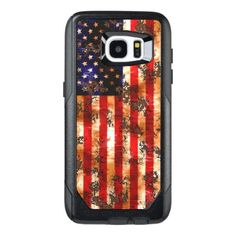 Weathered Rusty American Vertical Flag OtterBox Samsung Galaxy S7 Edge Case - retro gifts style cyo diy special idea