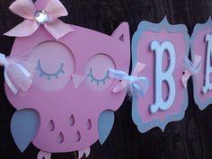 Búho bebé ducha bandera rosa y gris por SweetBugABoo en Etsy