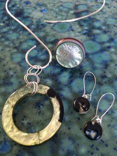 Handmade, fused glass jewelry by Miss Olivia's Line. #MOL #circles #metallic…