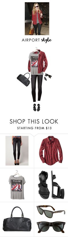 """""""jet set style / my exact look"""" by helena99 ❤ liked on Polyvore featuring Bershka, Woolrich, Pull&Bear, Doucal's, Ray-Ban, Nixon, bandtshirt, check, airportstyle and whatimwearing"""
