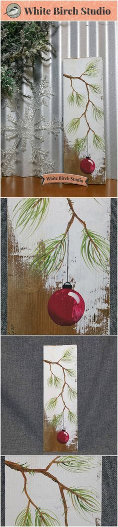 """RED Hand painted Christmas decor, Christmas decoration, Christmas Gift, Pine Branch with Red Bulb, Reclaimed barnwood, Pallet art, Shabby chic, Christmas tree Original Acrylic painting on reclaimed barnwood boards. This unique piece is appx. 17"""" tall by 5 1/4"""" wide. It is a fun, personal touch to add to your Christmas decor or a great gift for teachers. The CHRISTMAS bulb can be ordered in any color!!"""