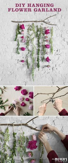 Get the flowers long before April even has a chance to shower. To get started on this craft project perfect for brunches, baby showers, spring themed get togethers or just because, pick a few of your favorite blooms. Then, find some twine and tie a double knot at the end of each stem and repeat fastening the other flowers. Once you have about six finished strands, knot them to a twig or branch. Finally, hang and enjoy! Click through to find even more homegrown inspiration!