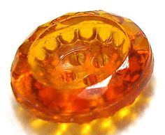 BEAUTIFUL ANTIQUE TRANSPARENT AMBER DEPRESSION GLASS BUTTON