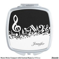 Music Notes Compact with Custom Name Makeup Mirror - music, musical note, music note, orchestra, jazz, piano, singer, music score, musician