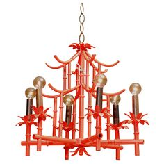 our vintage pagoda chandelier restored in bold red. SO pieces!