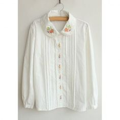 $13.07 Casual Accordion Design Embroidered Long Sleeves Shirt For Women