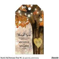 "Rustic Fall Autumn Tree Wedding Favor Thank You Gift Tags Autumn woodland wedding favor gift tags featuring a rustic fall tree covered in red, orange and yellow leaves, a carved heart with your initials, string twinkle lights and a modern wedding thank you template. For further personalization, please click the ""Customize it"" button to modify this template. All text style, colors, and sizes can be modified to suit your needs. You will find other matching wedding items at my store…"