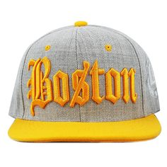 96dd7590a8a17 The Hat Depot 1300DHGBS Designed Heather Grey Boston Quality Snapback Cap  (Orange) at Amazon Men s Clothing store