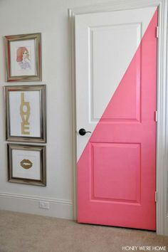 Ideas for painting kids bedroom closet doors Painted Bedroom Doors, Painted Closet, Painted Doors, Wood Doors, Bedroom Door Decorations, Bedroom Decor, Teen Bedroom Door, Girls Bedroom Ideas Paint, Funky Bedroom