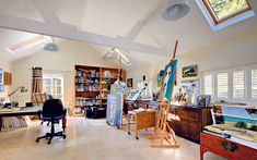 A bigger studio is #1 on my wish list--just like this! Artists studio in Gloucestershire house.