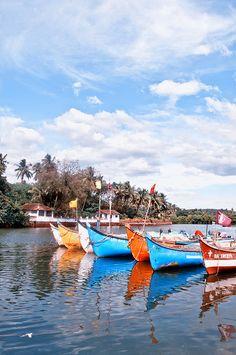 Baga Goa India - Boats on the River