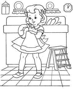 girl washing dishes, drawing by Mary Alice Stoddard