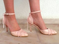 Wedding Shoes - Bridal Shoes Embroidered Blush Lace Victorian vintage