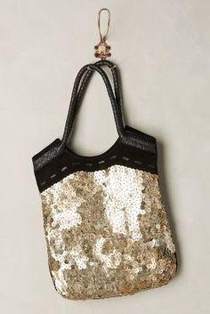Jasper & Jeera Lorca Sequined Tote #black #gold #sequin #bag #tote #fashion #anthropologie #glam