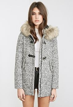 Marled Faux Fur-Hooded Coat   Forever 21 - 2000120720