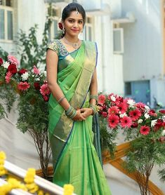 Image may contain: 1 person, standing and flower Pattu Sarees Wedding, Wedding Saree Blouse Designs, Pattu Saree Blouse Designs, Indian Bridal Sarees, Bridal Silk Saree, Indian Silk Sarees, Soft Silk Sarees, Indian Beauty Saree, Salwar Designs