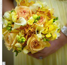 Peach, White , Yellow Bridesmaid bouquets,  http://www.blushingbrideboutiqueltd.com