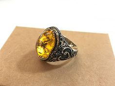 Mens Handmade Ring, Turkish Handmade Silver,Bronze Men Ring, Ottoman Mens Ring, Amber Stone Ring, Men Ring, Gift for Him, 925k Sterling Silver,Bronze Ring 925 Solid Sterling Silver,Bronze Handmade Each ring is hand crafted and is stamped on the inside All Sizes Availabes Just
