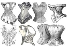 8 black and white corsets,
