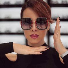 3f86b98ad92 2018 New Hot Square Square Luxury Sunglasses Women Brand Double Colors Sun  Glasses Female No Logo