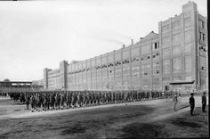 World War I U.S. School of Aerial Photography at Kodak Park, with students on the parade ground. This photo is undated.