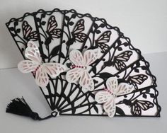 Fan card with butterflies cameo ready on Craftsuprint designed by Lyn Simms - A pretty card for all occasions,  - Now available for download!