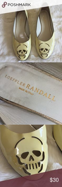 Loeffler Randall yellow patent SKULL flats shoes LR flats in a soft patent yellow color. Skull design on vamp. Size 8 1/2 B. Right shoe skull shows some wear- some of the patent is lifting around the skull mouth and chin. Loeffler Randall Shoes Flats & Loafers