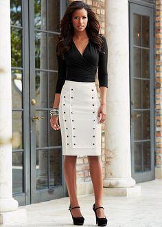 snap detail skirt