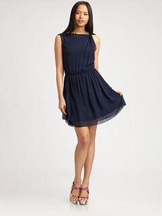 Alice + Olivia - Twisted-Shoulder Silk Dress - Saks.com
