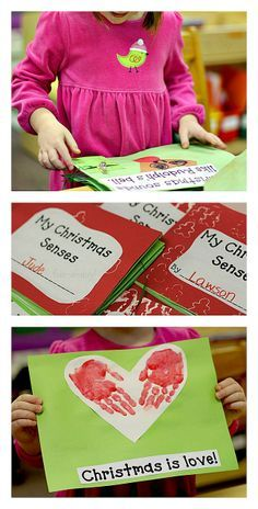 Christmas Senses Book - Holiday Book Making in Preschool from www.fun-a-day.com -- A fun way to get kids interested in early literacy.  Plus a great way to explore the 5 senses!