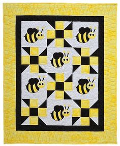 You're going to love Bella Bee Baby Quilt by designer Steph Marie. Longarm Quilting, Quilting Tips, Quilting Projects, Quilting Designs, Sewing Projects, Baby Quilt Patterns, Quilting Patterns, Quilt Baby, Kids Patterns