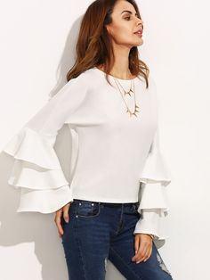 SheIn offers White Round Neck Ruffle Long Sleeve Blouse & more to fit your fashionable needs. All Fashion, Hijab Fashion, Fashion Dresses, Mode Hijab, Blouse Online, Blouse Styles, Cute Tops, Casual Outfits, Women Wear