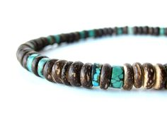 Tribal Turquoise a luxury, wooden mens necklace - Authentic Arts   Natural Jewelry