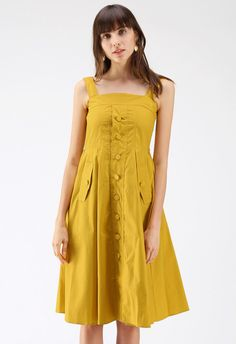 dab45196 All About Love Button Through Cami Dress in Yellow - DRESS - Retro, Indie  and