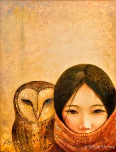 Girl with owl, art print, golden color giclee print on professional paper or canvas by Shijun Munns, Canvas Prints, Art Prints, Owl Canvas, We Are The World, Owl Art, Illustrations, Illustration Artists, Spirit Animal, Amazing Art